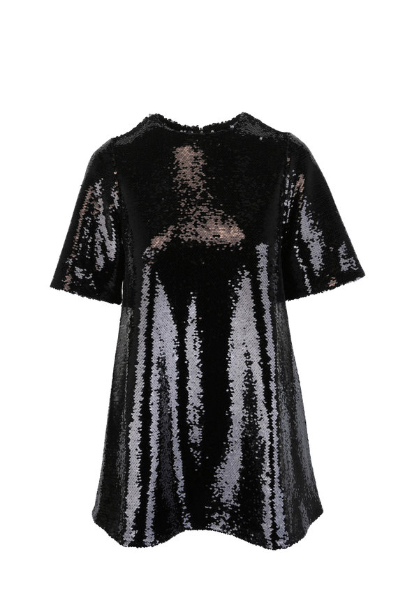 CO Collection Black Sequin Short Sleeve Long Top