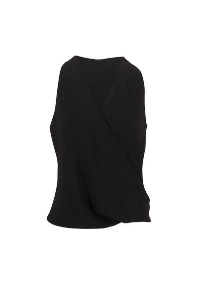 Peter Cohen - Tide Black Hammered Matte Silk Sleeveless Top