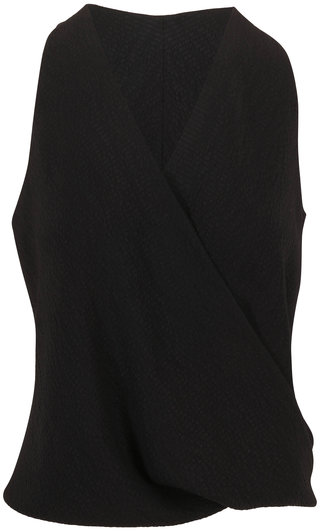 Peter Cohen Tide Black Hammered Matte Silk Sleeveless Top