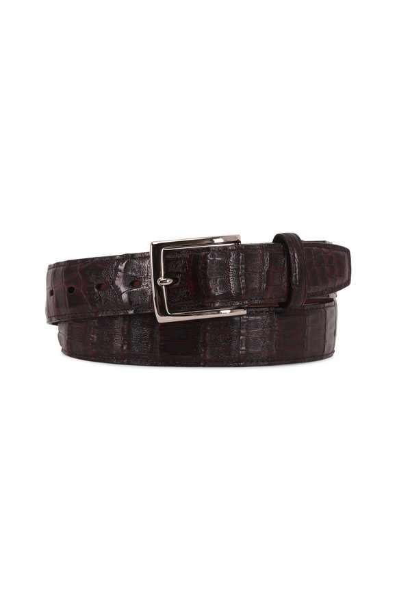 Torino Black Cherry Caiman Leather Belt