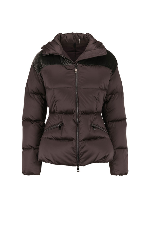 Moncler Sebou Dark Gray Contrast Yoke Hooded Puffer Coat