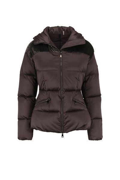 Moncler - Sebou Dark Gray Contrast Yoke Hooded Puffer Coat