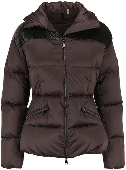 Moncler Sebou Dark Gray Contrast Yoke Hooded Puffer Coat