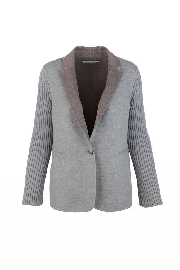 Rani Arabella Gray Double-Faced Cashmere Jacket