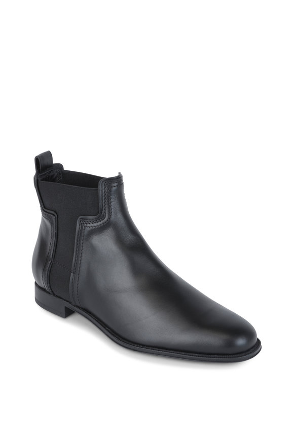 Tod's Black Matte Leather Chelsea Boot
