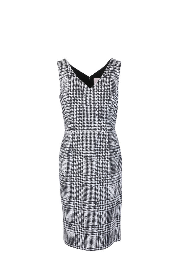 Carolina Herrera Ivory & Black Glen Plaid Wool & Silk Midi Dress