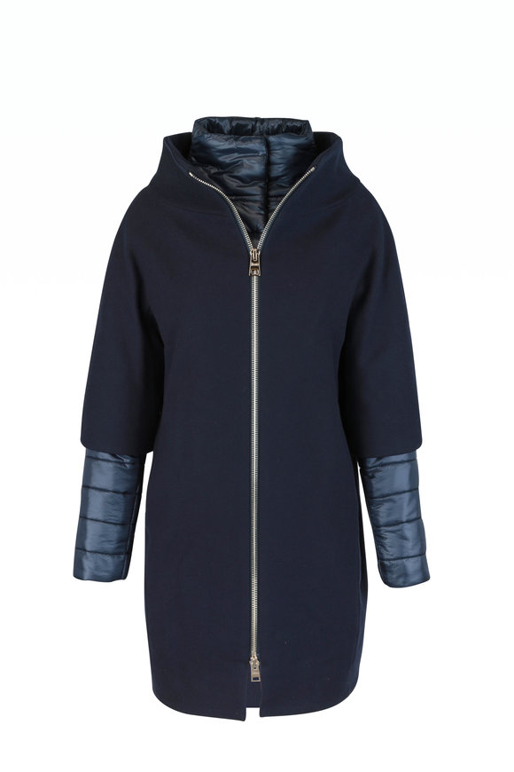 Herno Navy Blue Removable Dickey & Cuffs Coat