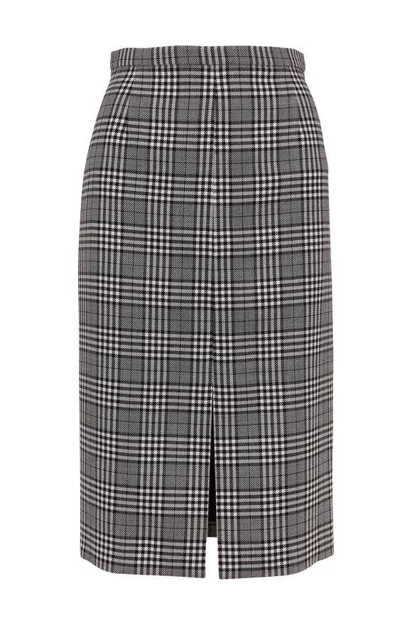 Michael Kors Collection Black & White Wool Glen Plaid Pencil Skirt