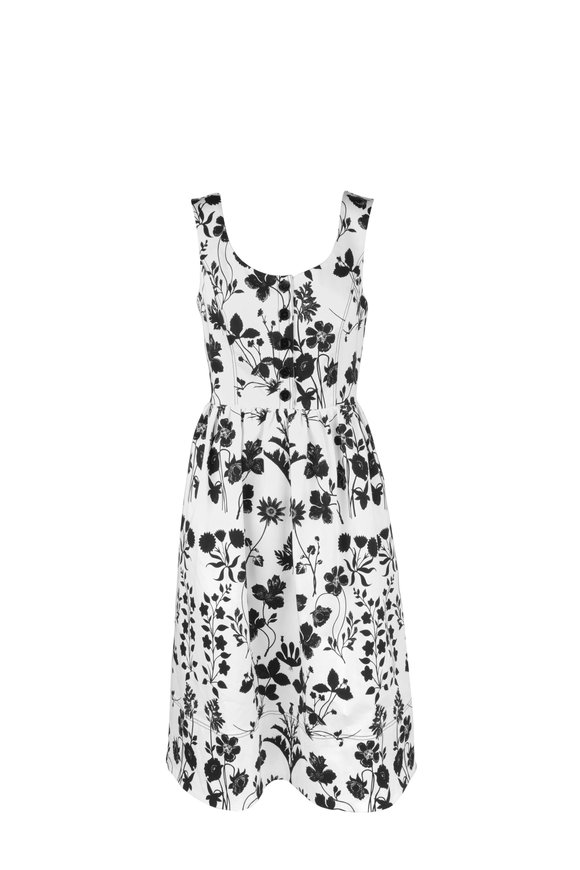 Oscar de la Renta Black & White Floral Print Sleeveless Midi Dress