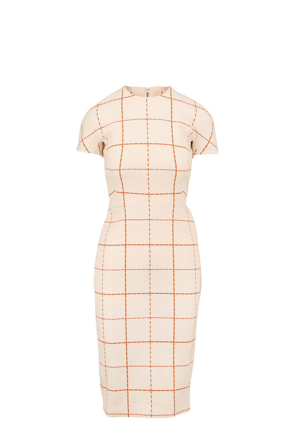 Victoria Beckham Cream & Mustard Wool Check Short Sleeve Dress