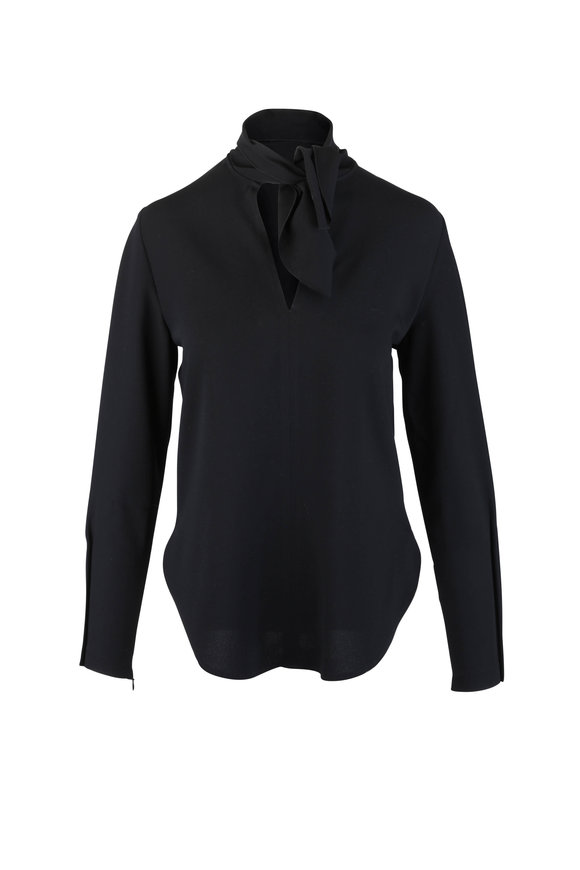 See by Chloé Black Crepe Pussy Bow Blouse