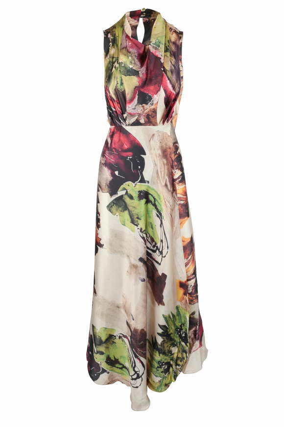 CO Collection Multicolor Silk Abstract Floral Sleeveless Dress