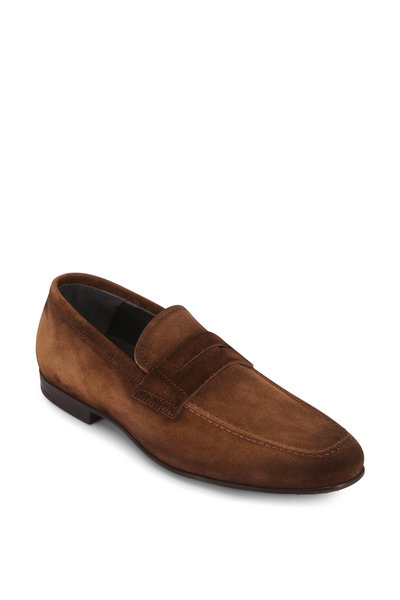 To Boot New York - Corbin Medium Brown Suede Penny Loafer