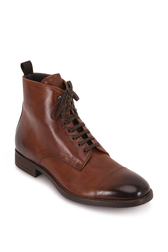 To Boot New York Richmond Brandy Leather Cap-Toe Lace-Up Boot