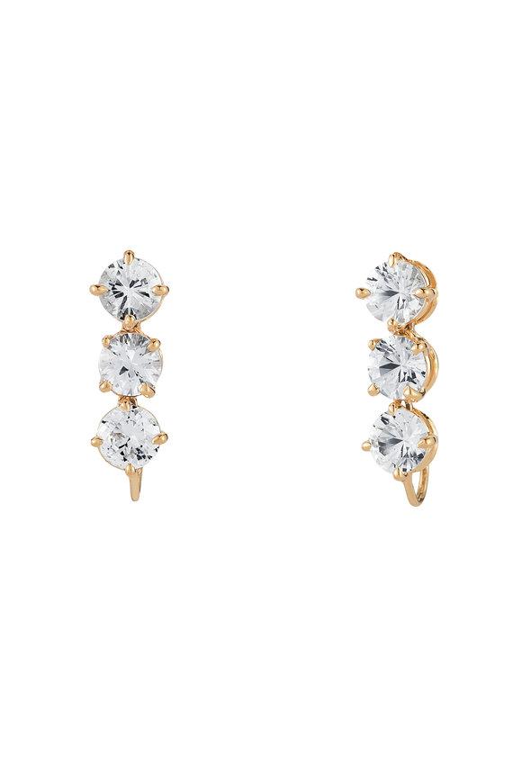Paolo Costagli 18K Yellow Gold 3 White Sapphire Drop Earrings