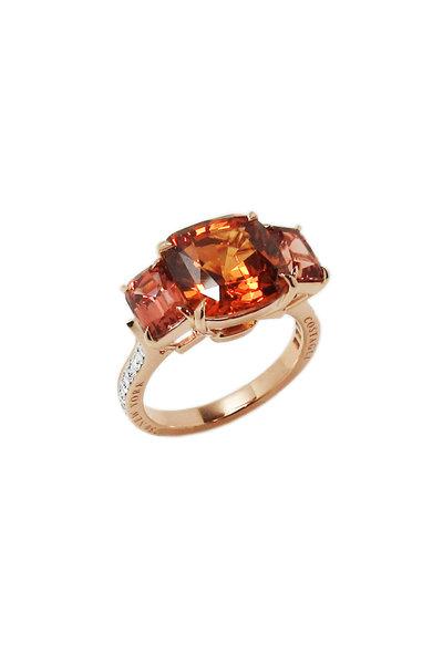 Paolo Costagli - 18K Rose Gold Hessonite & Garnet Cocktail Ring