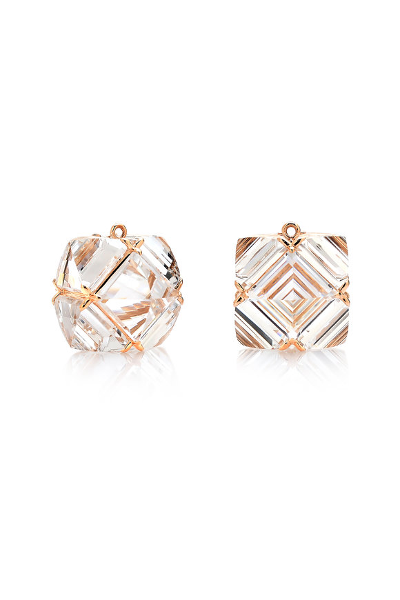 Paolo Costagli 18K Rose Gold White Topaz Pendant Earrings