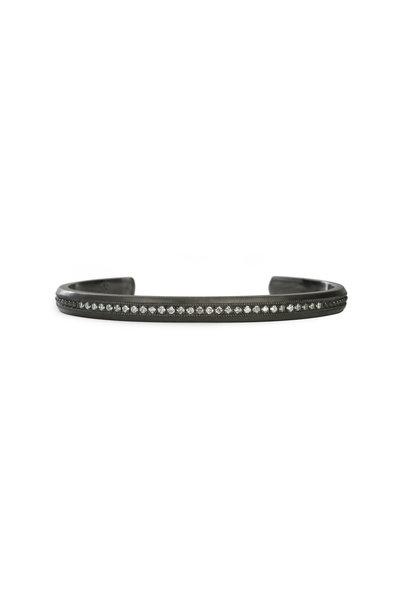 .925Suneera - Blackened Sterling Silver Gia Diamond Cuff