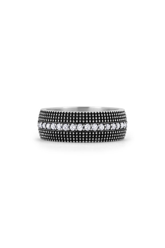 .925Suneera Sterling Silver Diamond Shana Band