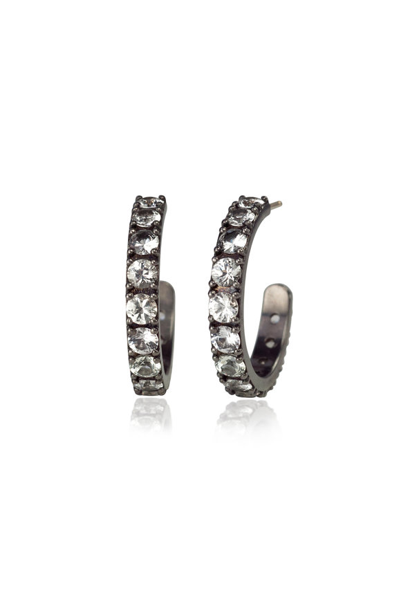 .925Suneera 14K Gold & Silver White Sapphire Hoop Earrings
