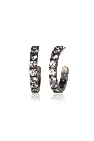 .925Suneera - 14K Gold & Silver White Sapphire Hoop Earrings