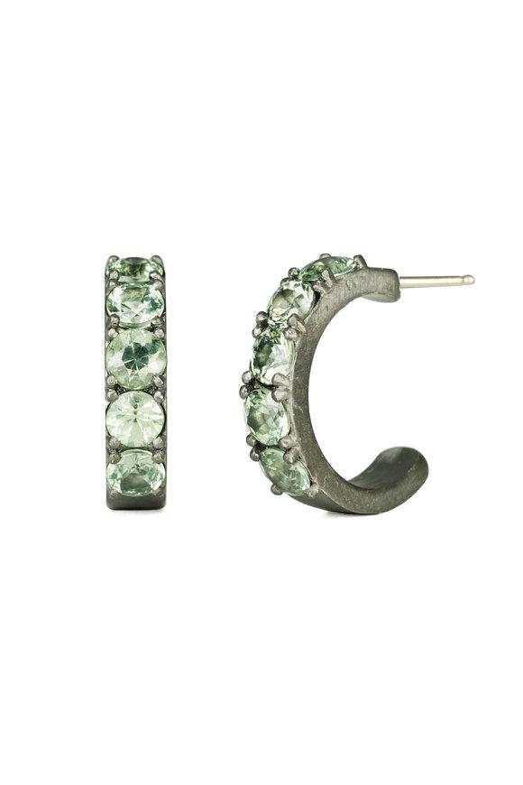 .925Suneera Gold & Silver Green Sapphire Huggie Earrings