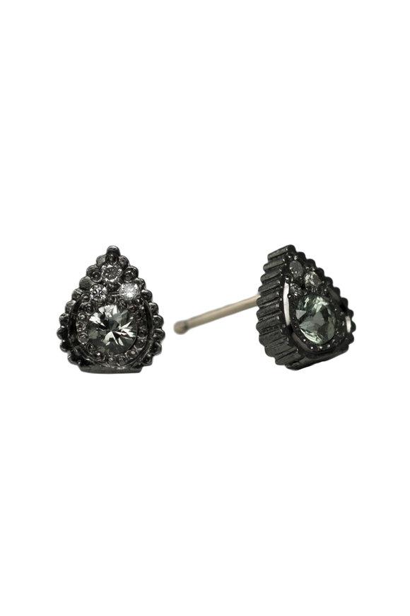 .925Suneera Sterling Silver Green Sapphire Stud Earrings