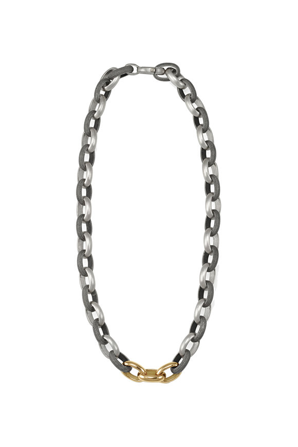 .925Suneera Sterling Silver & Gold Chain Link Necklace