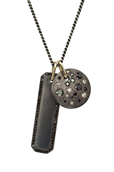 .925Suneera - 14K Gold & Silver Black Diamond Winnie Pendant