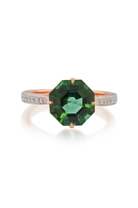 Paolo Costagli 18K Rose Gold Green Tourmaline Cocktail Ring