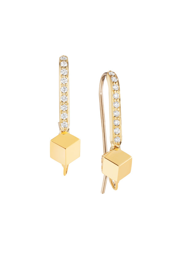 Paolo Costagli Yellow Gold Brillante Hook Top Pavé Earrings
