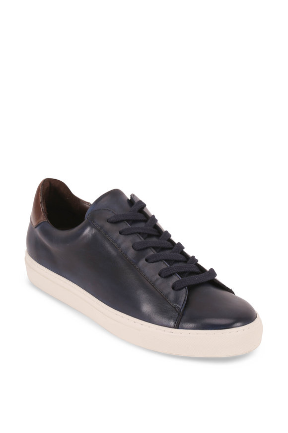 G Brown Court Navy Blue Leather Sneaker