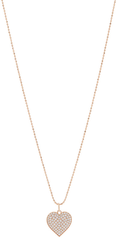 Sydney Evan 18K Rose Gold Pavé Heart Charm Necklace