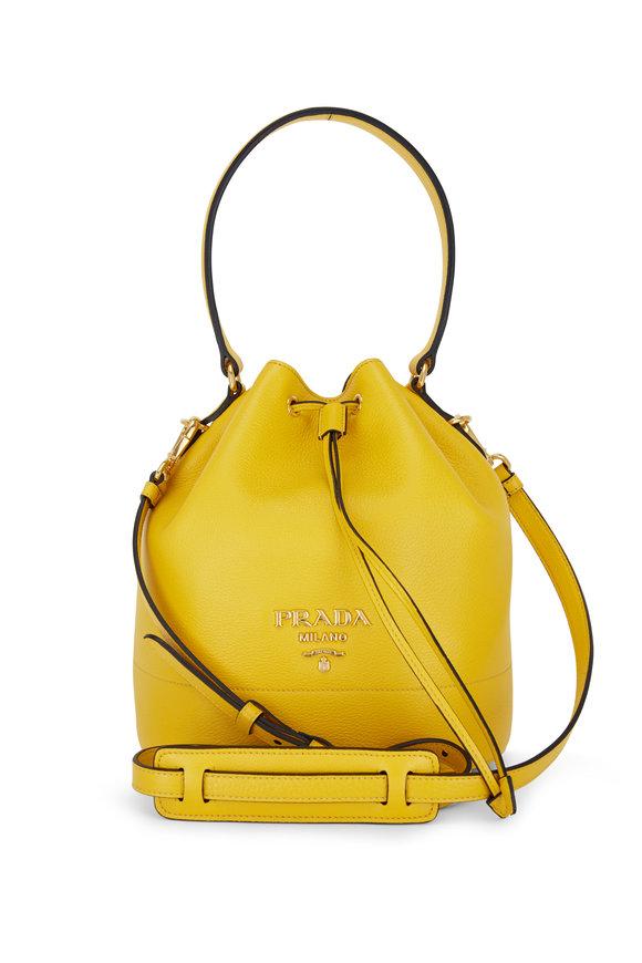 Prada Yellow Vitello Leather Bucket Bag