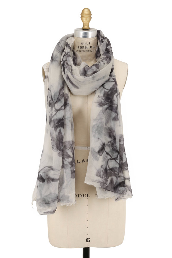 Brunello Cucinelli White & Gray Cashmere Shadow Floral Scarf