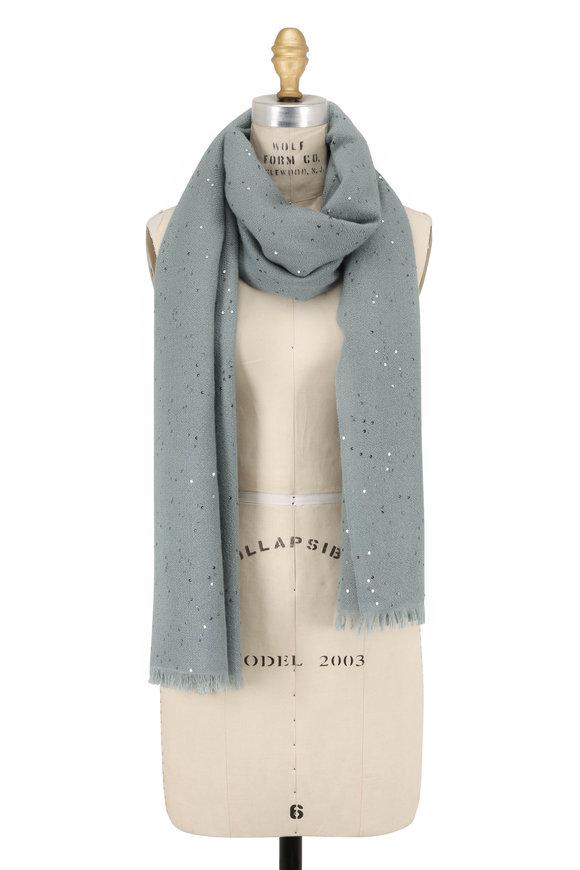 Brunello Cucinelli Aqua Cashmere & Silk Paillette Scarf