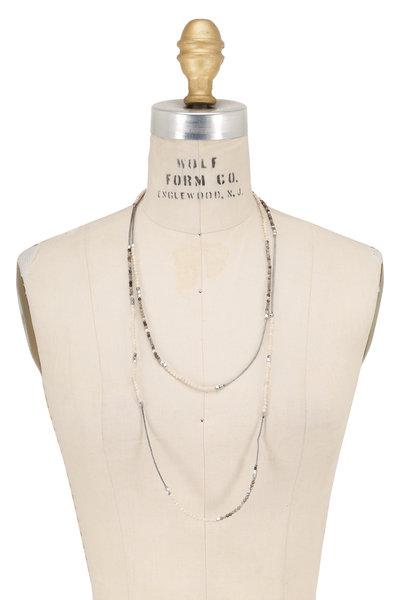 Brunello Cucinelli - Agate, Riverstone & Ematite Beaded Wrap Necklace