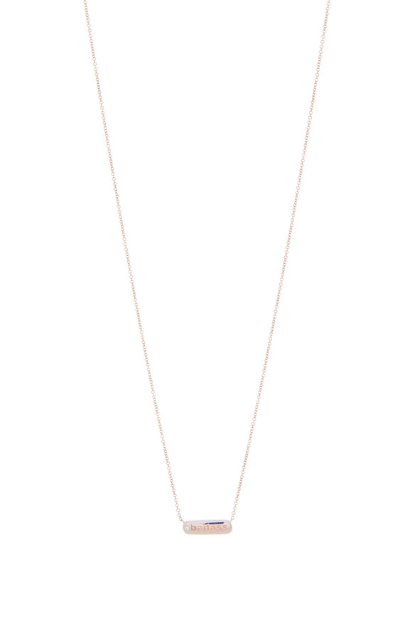 My Story Jewel 14K Rose Gold Badass Single Diamond Necklace