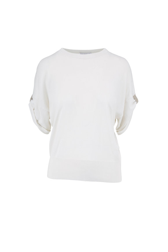 Brunello Cucinelli White Cashmere & Silk Monili Cuff Top