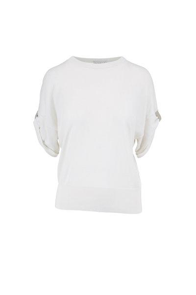 Brunello Cucinelli - White Cashmere & Silk Monili Cuff Top