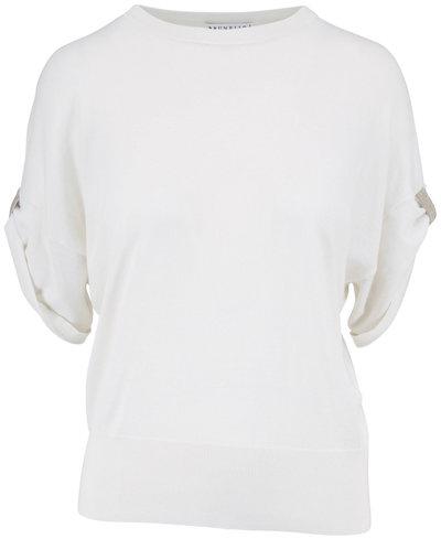Brunello Cucinelli White Cashmere & Silk Monili Cuff Top