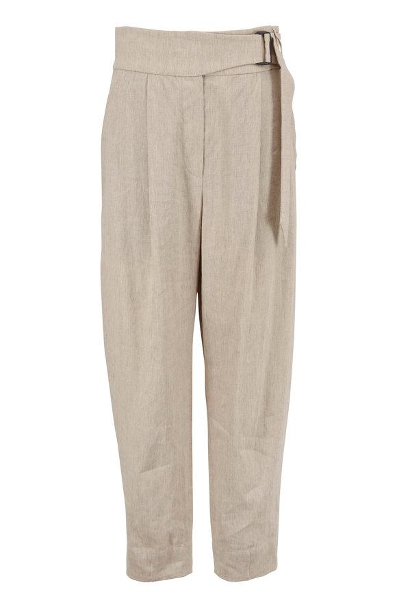 Brunello Cucinelli Beige Stretch Linen Belted Pant