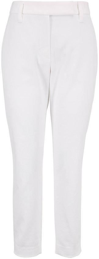 Brunello Cucinelli White Stretch Cotton Skinny Pant