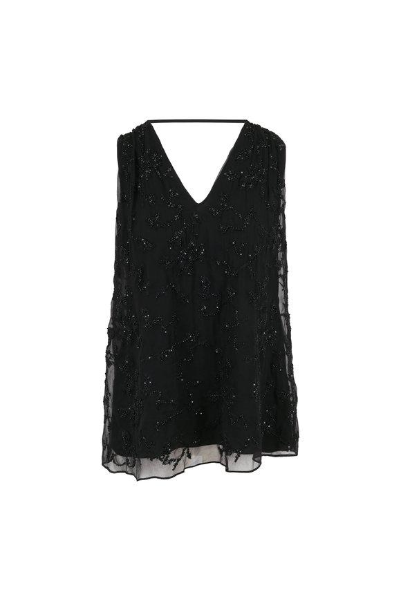 Brunello Cucinelli Black Silk Embellished V-Neck Sleeveless Top