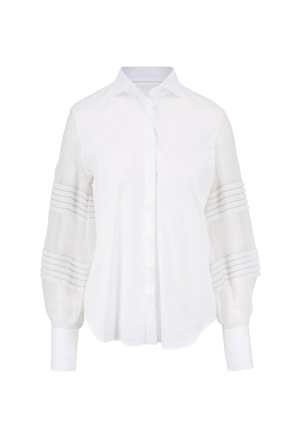 Brunello Cucinelli White Poplin Silk Sleeve Blouse