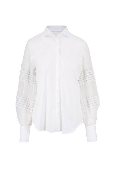 Brunello Cucinelli - White Poplin Silk Sleeve Blouse