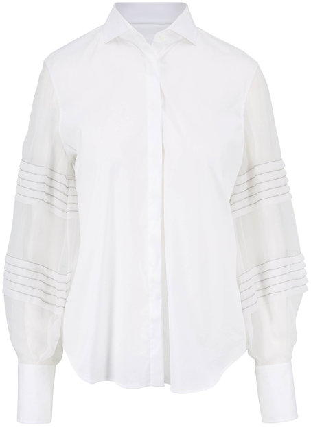 Brunello Cucinelli White Poplin Silk Sleeve Blouse