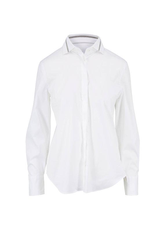 Brunello Cucinelli White Poplin Monili Tulle Collar Blouse