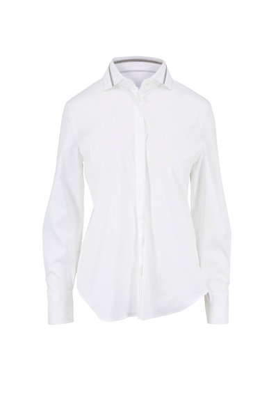 Brunello Cucinelli - White Poplin Monili Tulle Collar Blouse