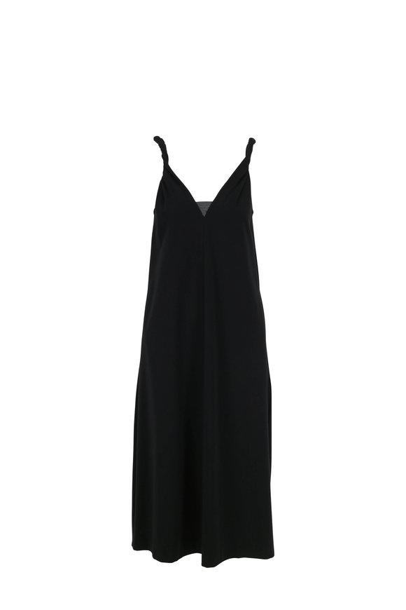 Brunello Cucinelli Black Couture Jersey Monili Inset Sleeveless Dress